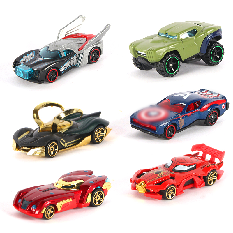 2018 Metal Toy Cars 6pcs Super Hero The avengers Cars Justice Leaguea Diecast 1:64 Wholesale Loki Hulk Iron Man Cars Collections цены онлайн