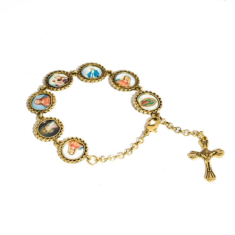 Jesus Christ Cross Pendant Suspension Charm Bracelet All Saint Maria Vintage Priest Religion Costume Bracelet Jewelry Wholesale