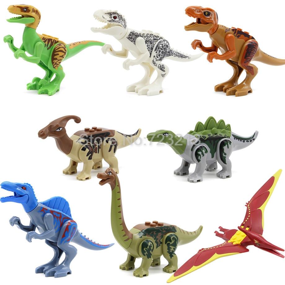 New 8pcs/lot Jurrassic World Legoingly Jurassic Dinosaur Figure Set For Kids Animal Building Blocks Sets Model Toys for Children цена