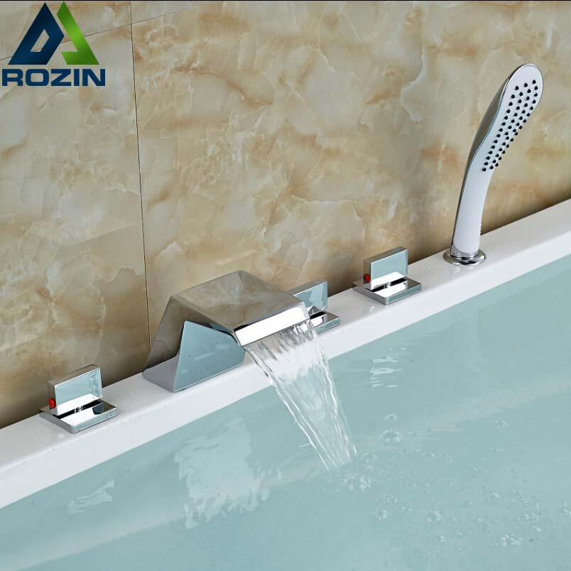 Modern Widespread Bathroom Bath Shower Faucet Set with Handshower Sprayer Deck Mounted 5 Holes Waterfall Tub Mixers widespread brass chrome finish shower set bath tub shower units deck mounted 5pcs faucet