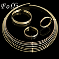 2017 New Folli Brand Haute Couture Italy Gold  Plated Jewelry Sets Luxury Dubai Nigerian Wedding African Earring Necklace Set
