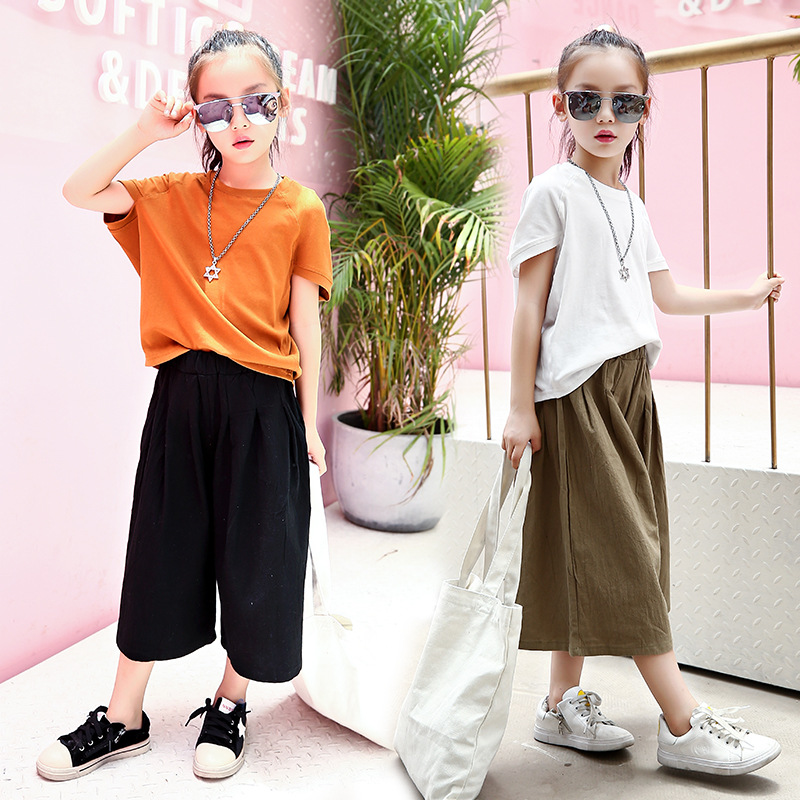 2018 New Fashion Children Clothing Sets Baby Girls Clothes T Shirts + Wide Leg Pants 2pcs Set Kids Tracksuit Sport Suits Costume new children clothing sets for girls t shirts