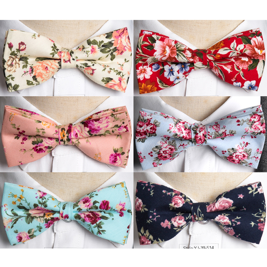 Floral Bow Tie Cotton Neckties For Men Wedding Party Colorful Butterfly Bowtie N