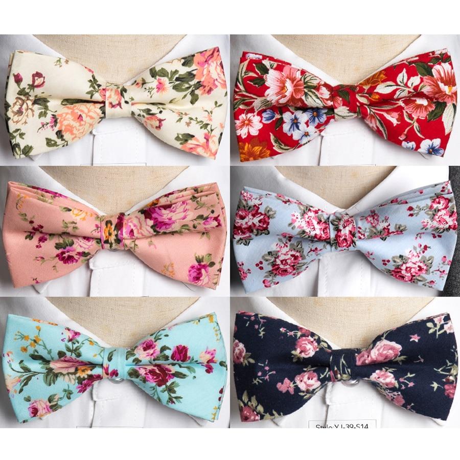 IHGSNMB Bowtie Fashion Floral Bow Tie Wedding Bowtie Cotton Ties For Men Pajaritas Cravat Business Bowties Female Male Necktie