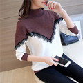 Autumn and winter new women's head half-short collar short paragraph of color lace wild thickening knitted shirt shirt