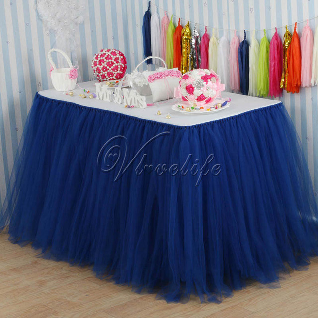 Navy Blue 100cm X 80cm Tulle Tutu Table Skirt Custom Wonderland Skirting Wedding Birthday
