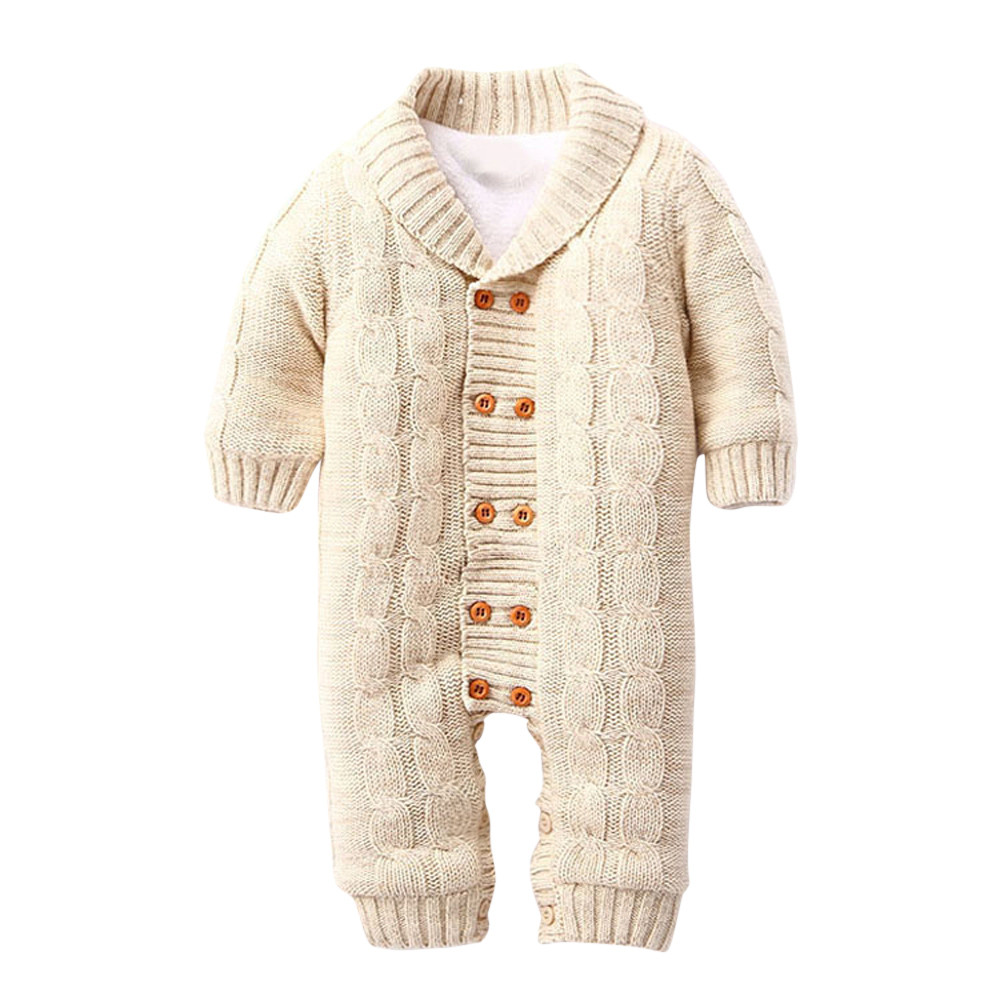 93b2ceb9837d7 Newborns Baby Button Rompers Lapel Knitted Thickened Sweater Jumpsuit
