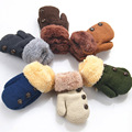Luvas de Dedos Completos Crianças Luvas Do Bebê inverno Meninos Meninas Quentes Luvas Corda Acrílico Crianças Tricô Botão Sólidos Mittens LA987036