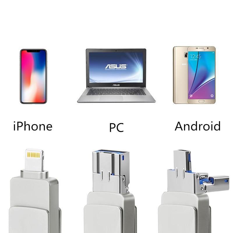 Begeistert 64 Gb 32 Gb Neue Metall Swivel Telefon Otg 3 In 1 Flash-stick Usb Memory Stick Für Android Ios Für Iphone Pc