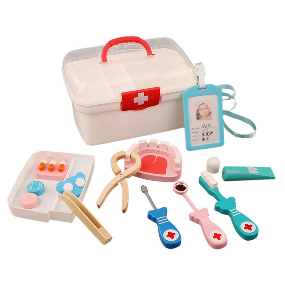 13PCS Wooden Baby toy Funny play Real Life Cosplay Doctor Dentist Medicine Box Pretend dokter speelgoed Wooden toy kids toys