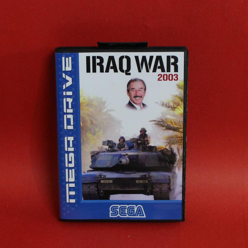 Iraq War 2003 16 bit MD card with Retail box for Sega MegaDrive Video Game console system