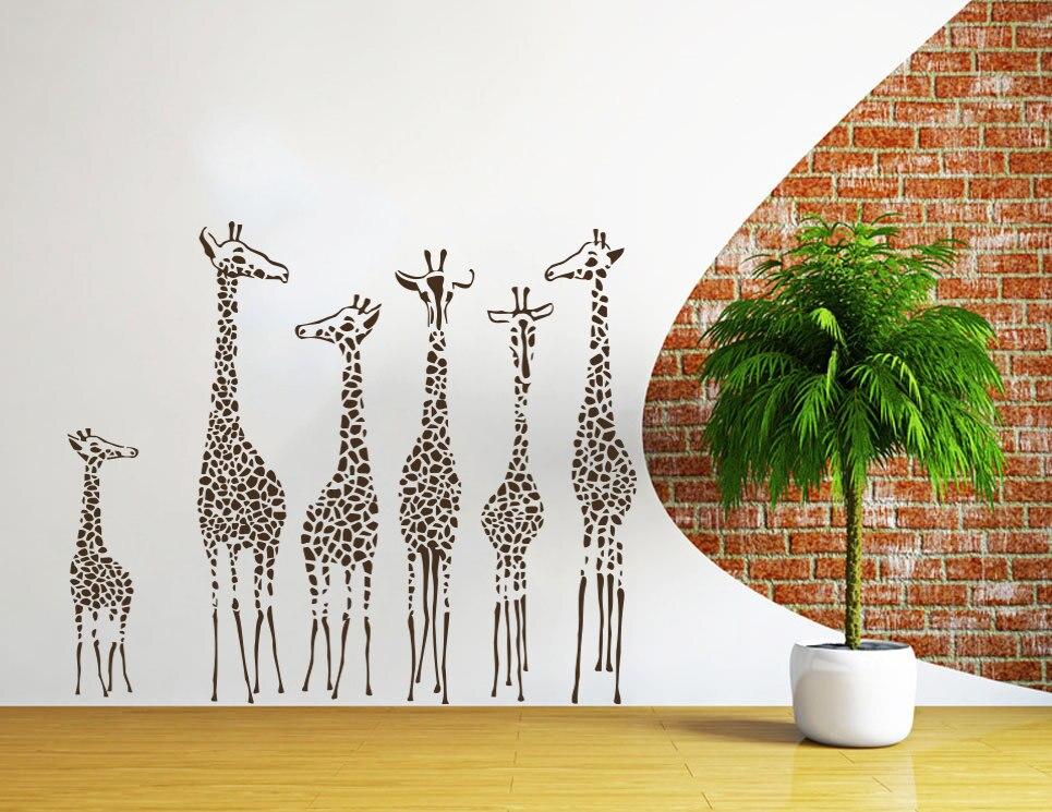 Girafes Famille Mignon Silhouettes Art Conçu Peintures Murales de Style Africain Spéciale Stickers Muraux Crative Conçu Papier Peint Wm-430