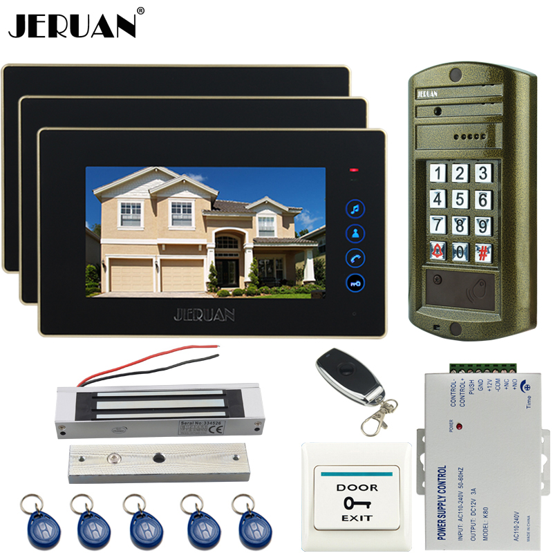 JERUAN NEW 7`` TOUCH KEY Video Intercom Door Phone System kit Metal waterproof password HD Mini Camera +180kg Magentic lock 1V3 jeruan wired 7 touch key video doorphone intercom system kit waterproof touch key password keypad camera 180kg magnetic lock