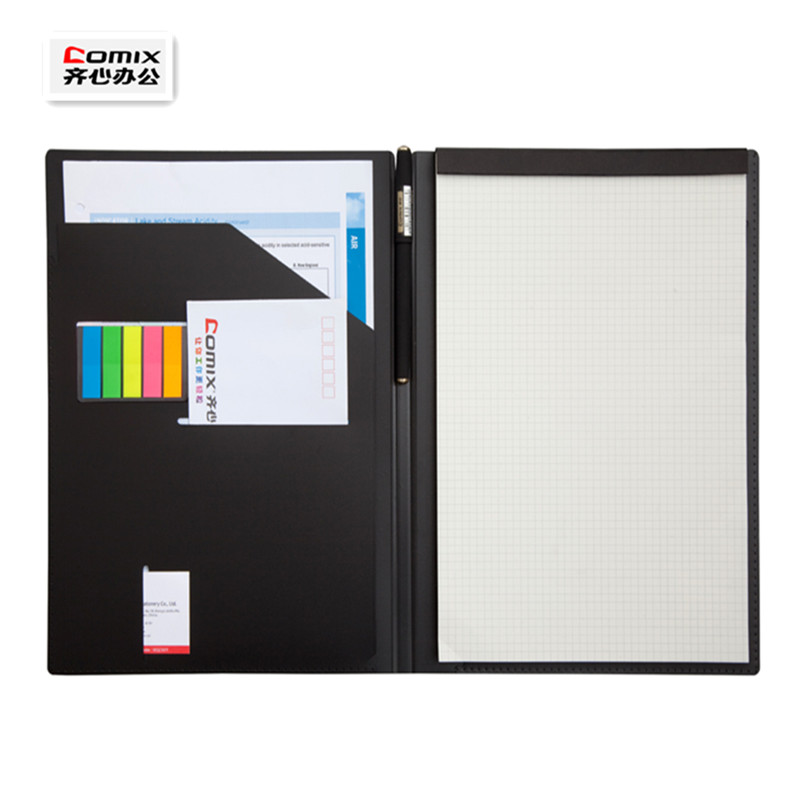 Office Padfolio A4 Classic Black File Folder,Work Notes And Plans,Multi-function Manager Folder,with Label,gel Pen And Notepad