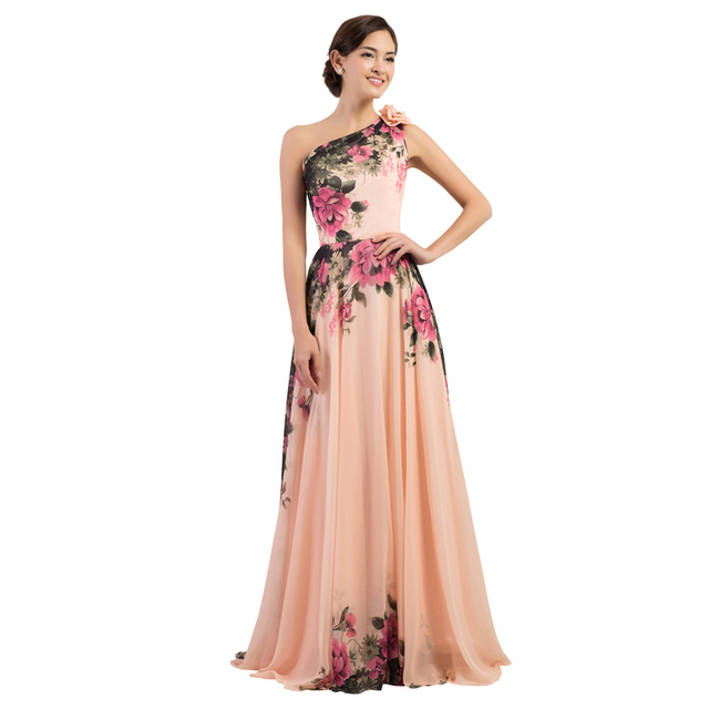 GK One Shoulder Flower Pattern Chiffon Formal Evening Dresses Elegant  Floral Print Party Gown Vestido Longo Rockabilly CL7504 1abee0817f1b