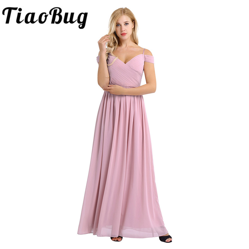 Women Lady Chiffon Off The Shoulder Pleated Deep V Neck Long Bridesmaid Dress Prom Gown Women Gorgeous Long Wedding Party Dress(China)