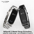 Screwless Metal Wrist Strap For Original Xiaomi Mi band 2 OLED Display Smart Bracelet Wristbands Black Silver