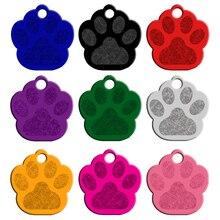 Алюминий идентификатор домашних животных следы лап изготовленные на заказ с гравировкой для собак и кошек, имя, номер телефона тег персонализированные 20 шт./лот