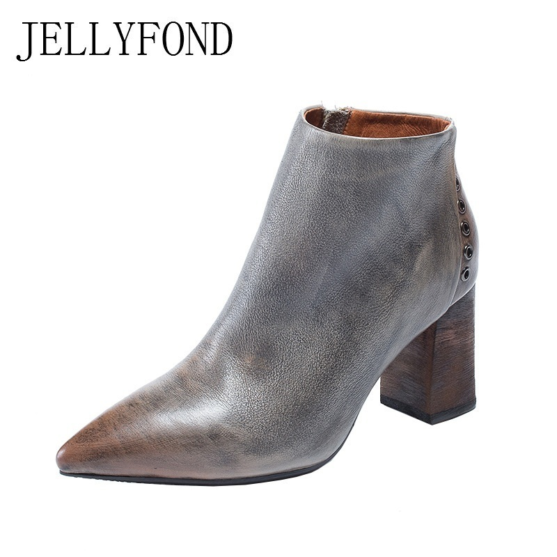 JELLYFOND Genuine Leather Designer Ankle Boots Women Point Toe Chunky High Heels Chelsea Boots 2018 Vintage Handmade Shoes Woman jellyfond designer autumn winter shoes woman 2018 handmade genuine leather big bow platform high heels ankle boots chelsea boots