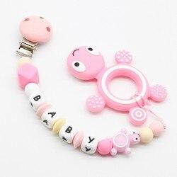 1 pc Dos Desenhos Animados Mini tartaruga Costume Privado Personalizar Nome Do Bebê Ábaco Cadeia Clips Chupeta BPA Livre Silicone Dentição Manequim
