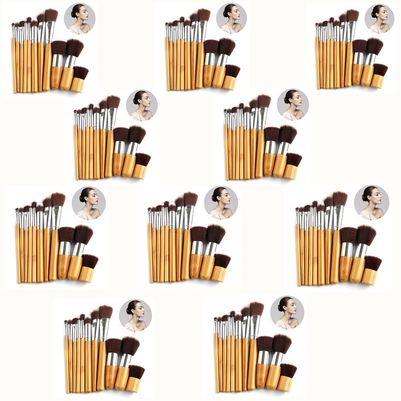 10*11Pcs Makeup Brushes Cosmetics Tools Bamboo Handle Eyeshadow Cosmetic Brush Set Blush Kit pincel maquiagem Pouch Bag new lcbox professional 16 pcs makeup brush set kit pouch bag cosmetic brush kit cosmetic powder foundation eyeshadow brush tools
