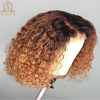 13x6 Short Curly Lace Front Human Hair Wigs With Baby Hair Brazilian 1B 27 Burgundy Honey Blonde Bob Wig For Black Woman Hair
