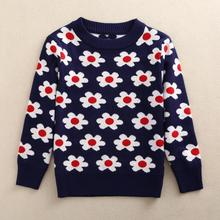 Three-8Y Flower Girl Sweaters Autumn Children Sweater Girls Child Outerwear Clothes Sweaters Children Kids Knitted Pullover AS-1522