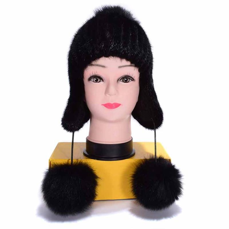 (TopFurMall) Russian Women Real Knitted Mink Fur Bomber Hats Fox Fur Pom Poms Winter Lady Caps Fashion Headgear LF6003
