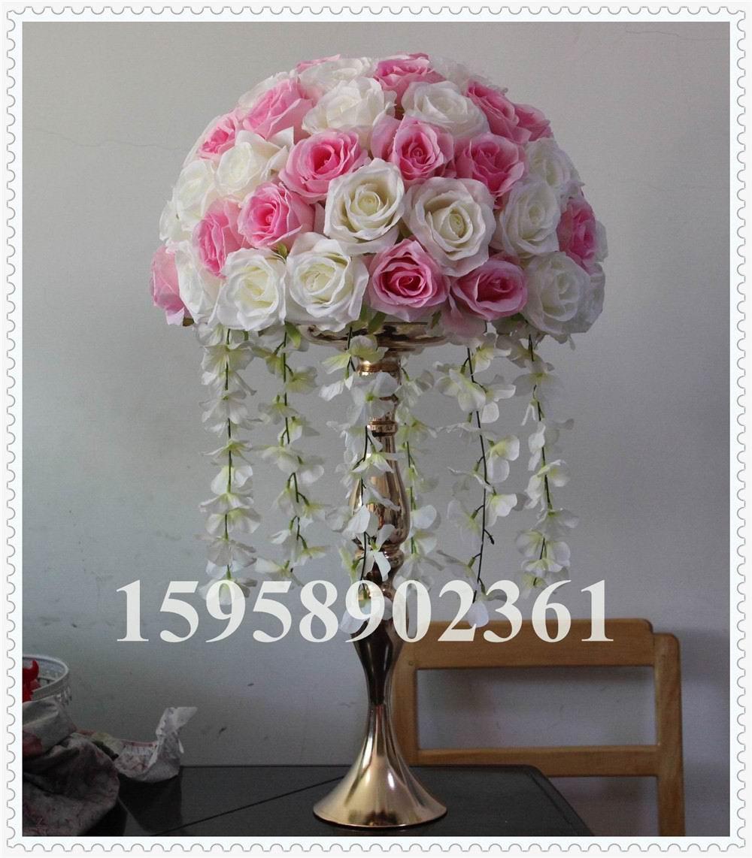 SPR! 무료 배송! 4pcs / lot 웨딩로드 리드 라벤더 인공 꽃 웨딩 테이블 꽃, 테이블 센터 피스 믹스 핑크 아이보리