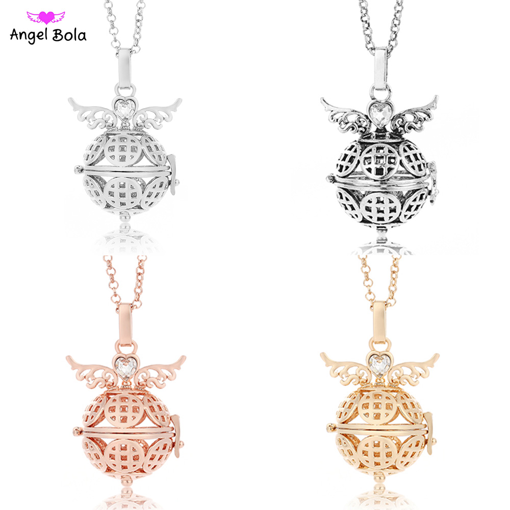 Angel Bola Jewelry for Women Gift Wings Aromatherapy Diffuser Cage 22.5mm DIY Ball Pendants Essential Oil Necklaces NL024