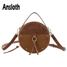 Ansloth Round Designer Shoulder Bag Women Scrub Leather Crossbody Ladies Vintage Handbag Female Small Handle HPS555