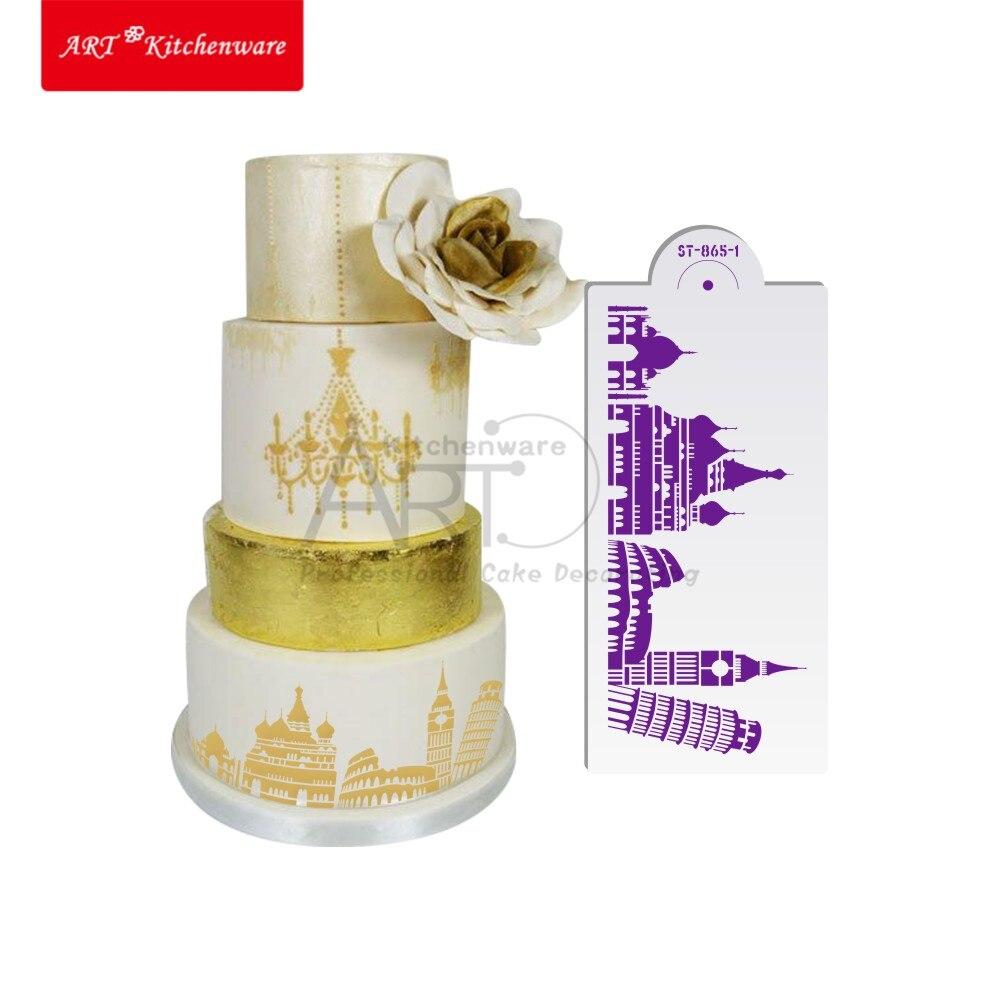 Landmaark kitchen accessories - New Landmark Pisa Tower Stencil Set Wedding Cake Stencil Colosseum Fondant Cake Decorating Tools Kitchen Accessories