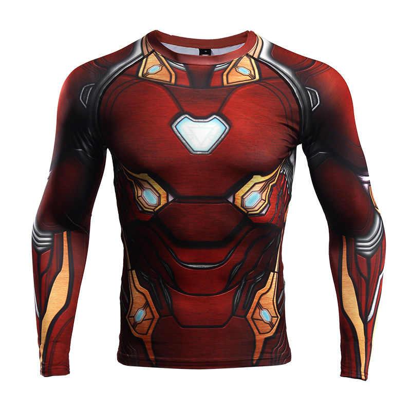 Железный человек Супермен 3D печатных футболки мужские обтягивающие рубашки топы с длинными рукавами футболки тренажерные залы Фитнес футболка для тренировок Рашгард