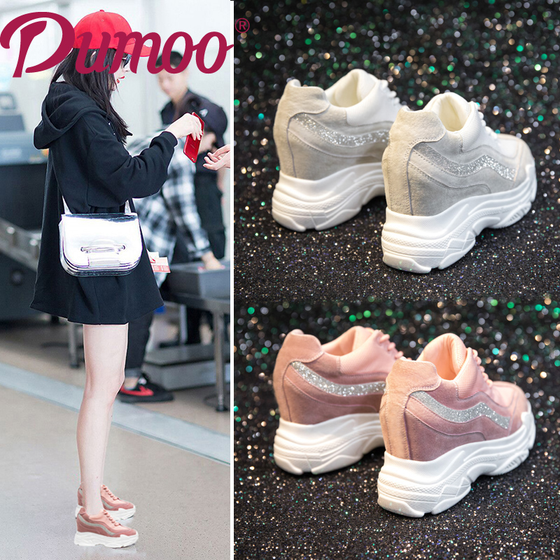 Dumoo Genuine Cow Leather Shoes Women Girl Super High Heel 8cm Casual Shoes Sneakers Platform  Wedges Height Increasing Shoes