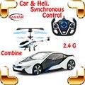 Новое поступление впервые в мире комбо автомобиль вертолет идея I8 1/14 2.4 г RC радиоуправляемые игрушки гоночный автомобиль ртр RTF электрические игрушки