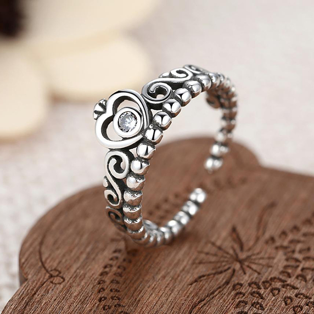 TOGORY Noble Silver Color My Princess Queen Crown Engagement Fine Ring with Clea