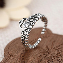 06c12c843 ... usa togory noble silver color my princess queen crown engagement pandora  ring with clear cz women ...