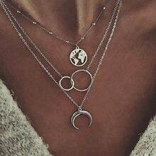 Многослойный лунный кулон с картой мира ожерелье для женщин Серебряный цвет Круглый Круг ожерелье женский подарок на вечеринку