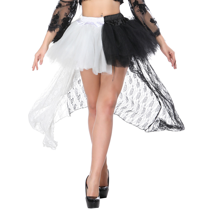 Women Mesh Skirt Female Gothic Patchwork Tulle Skirt Steampunk Lace Floral Ball Gown Vintage Shows Dance Party Sexy Corset Skirt