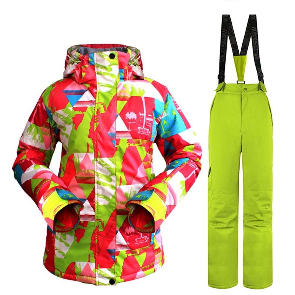 Camouflage High quality Warm dress Women Skiing Clothing Waterproof Snowboarding Suit Sets Jackets+Pants Snow Costumes