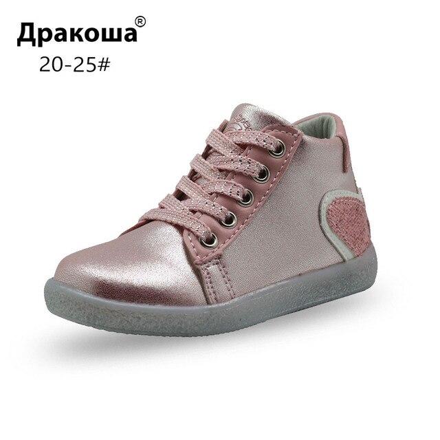 Apakowa для девочек модные ботильоны малышей Детская шикарные ботинки martin повседневная обувь для школы вечерние подарка маленькой девочки