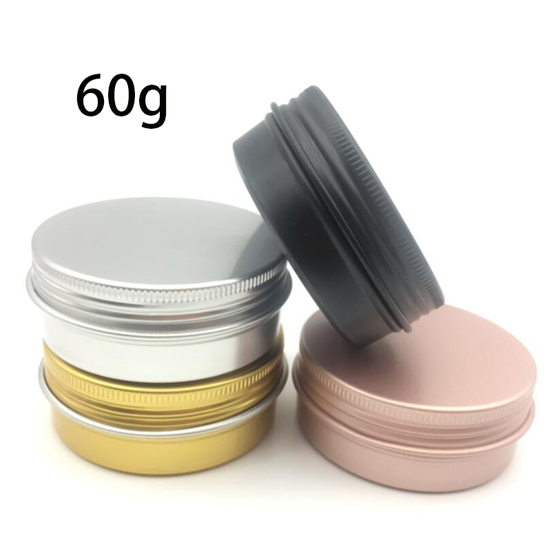50pcs/lot 60g Aluminum Jars 60ml Gold Pink Black Silver Metal Tin 2oz Cosmetic Containers Crafts Colorful Aluminum Boxs ZKH91