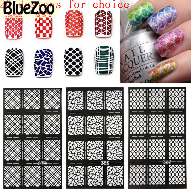 BlueZoo 20 Sheets Hollow Out Nail Template Sticker Flower Maple Alphanumeric Stamp Template Nail Sticker DIY Nail Art Decal any hollow out nail template stickers laser star wheel triangle pattern nail sticker designs nail art