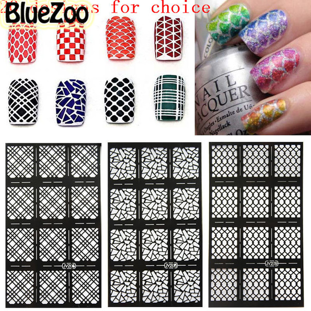 BlueZoo 20 Sheets Hollow Out Nail Template Sticker Flower Maple Alphanumeric Stamp DIY