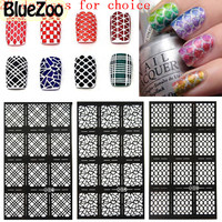 BlueZoo 20 Sheets Hollow Out Nail Template Sticker Flower Maple Alphanumeric Stamp Template Nail Sticker DIY Nail Art Decal