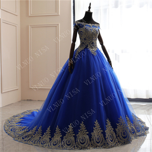 Image 2 - New Arrivals spring summer romantic luxury Vintage Lace appliques blue wedding dress Off White long  80 cm train