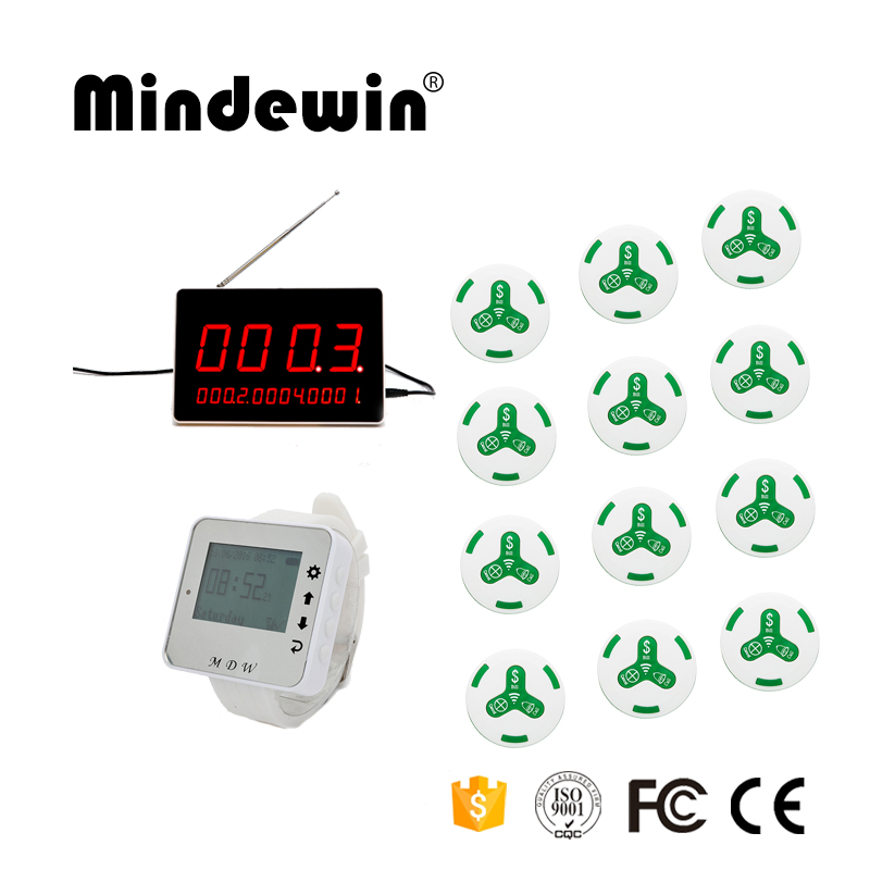 Mindewin New 1pc LED Display Receiver +1pc Wrist Watch Pager +12pcs Waiter Call Button Wireless Pager System For Restaurant wireless pager system 433 92mhz wireless restaurant table buzzer with monitor and watch receiver 3 display 42 call button