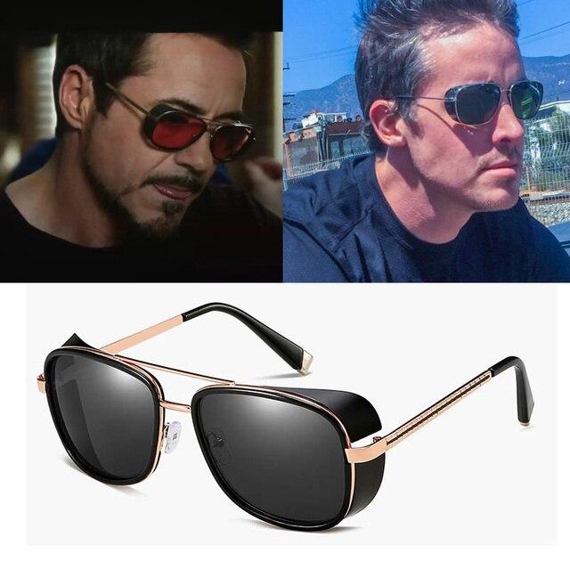 66c1bb2085 Marca de lujo Tony Stark Iron Man gafas de sol hombres gafas de sol espejo  Vintage