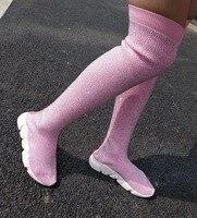 Обувь на платформе, Длинные повседневные туфли со стразами, розовые кроссовки, длинные эластичные носки, туфли на плоской подошве со страза