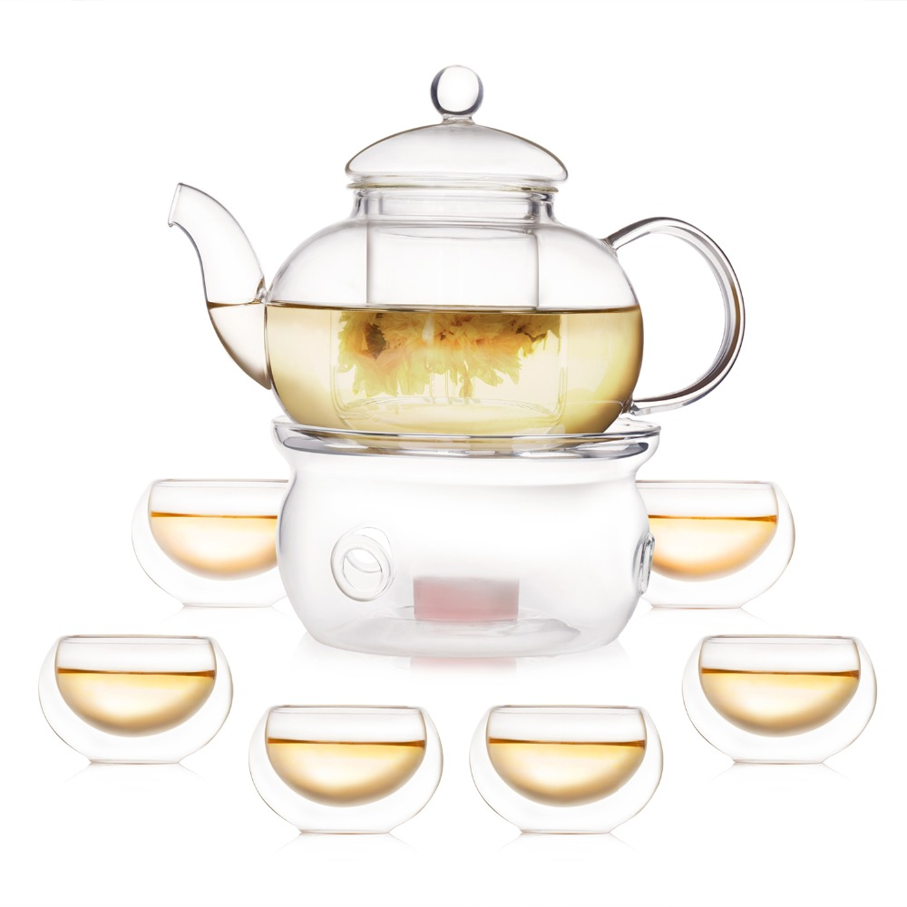 online get cheap modern tea cups set aliexpresscom  alibaba group - modern pcs glass tea pot set infuser teapot   double wall tea cups warmer